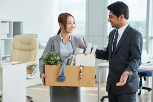 Employer welcoming new employee to company